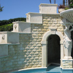 pool feature stone