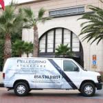 van with commercial building