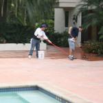 pool stone scrubbing