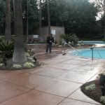 concrete tile pool area