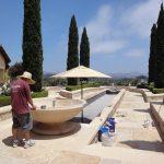 outdoor travertine water feature